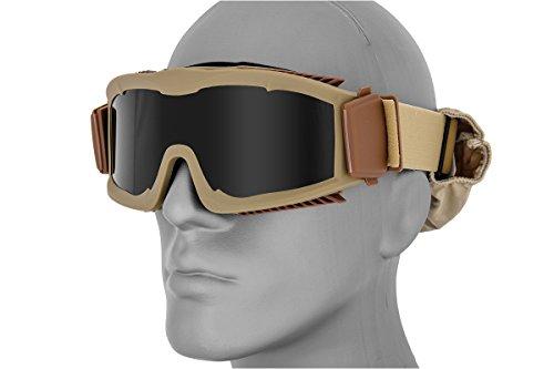 Lancer Tactical Airsoft Sicherheit Eye Schutz Full Dichtung Schaumstoff Pad belüftet Brillen, Tan Frame - Smoke Lens