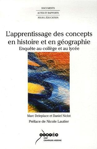 L'apprentissage des concepts en histoire et en géographie : Enquête au collège et au lycée