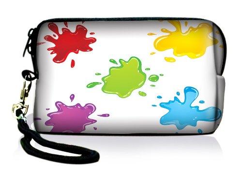 Luxburg® Design Universal Kameratasche Hülle Sleeve Case für kompakte Digitalkamera, Motiv: Farbkleckse