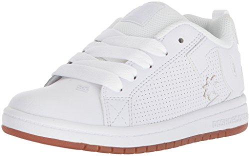 DC Kids Youth Court Graffik Skate Shoes White/White/Gum