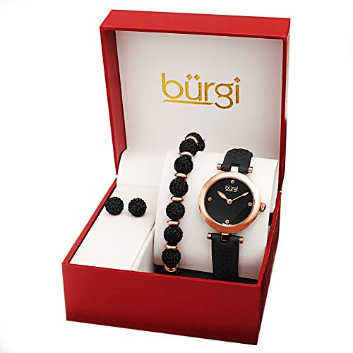 Burgi BUR245 Ladies Gift Set Stylish Watch with 4 Diamond Markers Leather...