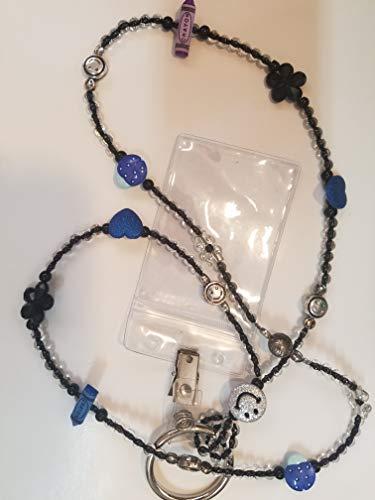 Lanyard Halskette für Lehrer A7 Blau Silber Smile