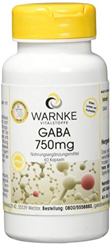 Warnke Gesundheitsprodukte GABA 750mg - Gamma-Aminobuttersäure - 60 Kapseln -