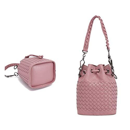 YANQIMAOYI Handtasche 2019 hellrosa Damenhandtasche und Schuhe inspiriert Markenhandtasche gewebt -