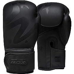 RDX Guantes de Boxeo Mate Negro Convexo Piel Cuero Guante Hechos de Ideales para Kick Boxing Muay Thai Saco Entrenamiento Sparring
