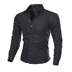 c90df15355d65 Rrimin Mens Cotton Blend Long Sleeve Shirt Casual Slim Fit Stylish Dress Shirts  Tops (Large