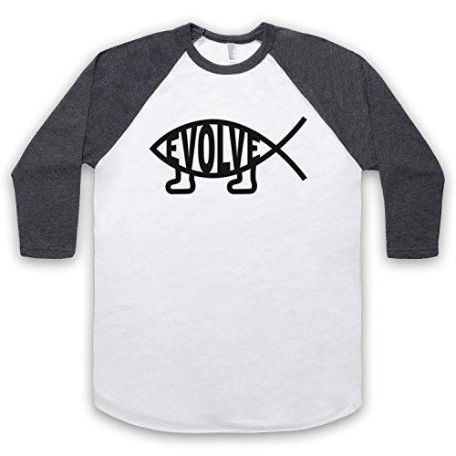 Evolve Evolution Atheist Symbol 3/4 Hulse Retro Baseball T-Shirt, Weis & Dunkelgrau, Large
