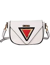 Nikky Women'S Modern Classic Crossbody Gold Plate Design Cross Body Bag, White, One Size