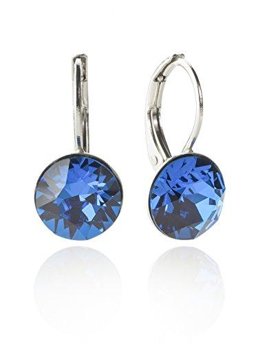 Orecchini con SWAROVSKI ELEMENTS colore argento-Eleganti orecchini in taglio brillante disponibile in molti colori Blau / Capri Blue Taglia unica