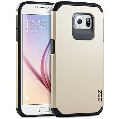Samsung Galaxy S6 Hülle, BEZ® Stoßfestes Etui, [Heavy Duty Serie] Outdoor Dual Layer Armor Case Handy Schutzhülle [Shockproof] robuste Hülle für Samsung Galaxy S6 - Gold