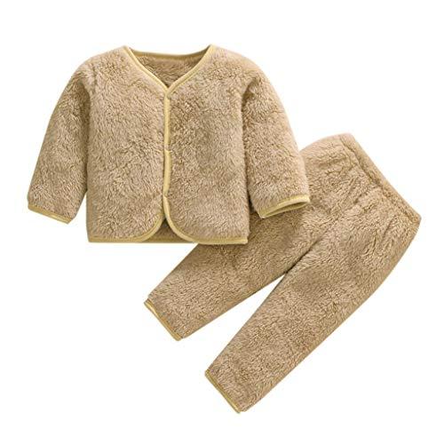 Xmiral Baby Mädchen Jungen Kurze Plüsch Warme Nachtwäsche Pyjamas Langarm Kleidung Set Herbst Top + Hosen Zweiteiler(I,3-6 Monate)
