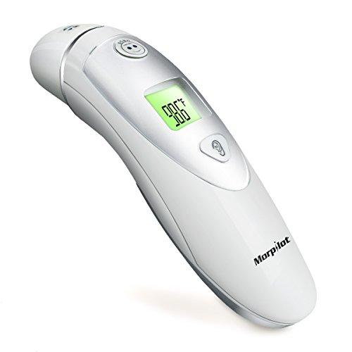 Morpilot Termómetro de infrarrojos digital para la frente y el oído Modo duble para adultos y bebés – Una segunta para medir precisamente fiebre 20 Recuperación de memoria segura e higiénica