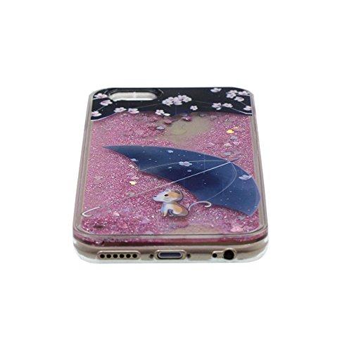 Schutzhülle für iPhone 6 6S Hülle Hardcase Transparent Flüssigkeit Wasser Stil Fließbar Bunte Pulver Entwurf Niedlich Tier Katze Muster Cover Case für Apple iPhone 6S 4.7 inch pink-4