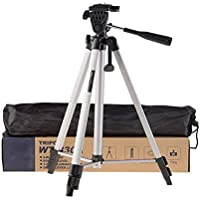 VRJTEC Advance Adjustable Tripod Stand Holder for Mobile Phones & Cameras, 360 mm -1050 mm, 1/4 inch Screw Metal Body + Mobile Holder Bracket (Silver and Black) (Aluminium 330A Tripod)