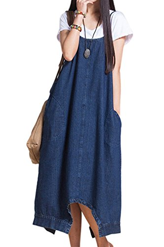 Frauen ärmellose jeans hose rutscht lange kleid Blue
