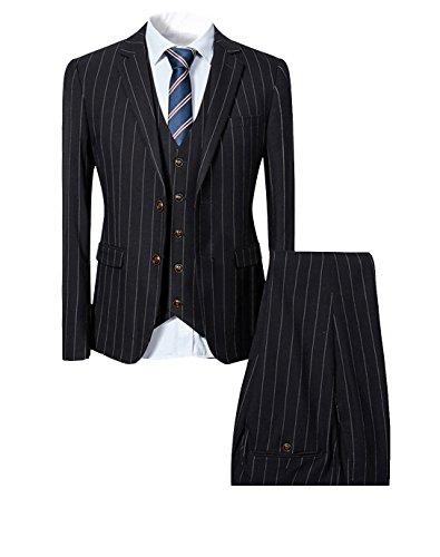 Costume homme à rayure deux boutons d'affaire mariage slim fit trois pièces Noir