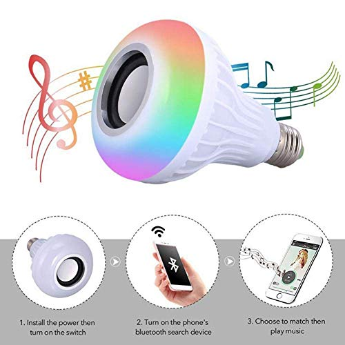 E-CHENG LED Wireless Light Bulb Speaker,Smart Music Color Changing Bulb 12W,Wireless V3.0 LED Light Lamp Built-in Audio Speaker for Party,Home,Stage,Halloween Decorations