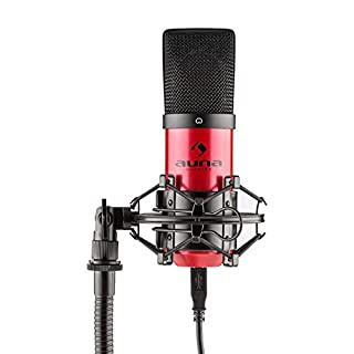 Auna MIC-900-RD USB Kondensator Mikrofon Nierencharakteristik für Sprach & Gesangsaufnahmen16mm Kapsel LED, Rot