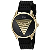 GUESS Women's Stainless Steel Japanese Quartz Watch with Silicone Strap, Black, 18 (Model: U1227L2)