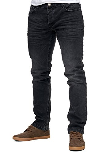 Reslad Jeans-Herren Slim Fit Basic Style Stretch-Denim Jeans-Hose RS-2063 Schwarz W36/L32