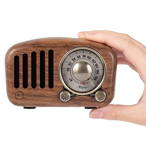 PRUNUS J-919 Klassisches Retro-Holz Design UKW FM SD MP3 Bluetooth Transistor Laderadio mit Lautsprecher, unterstützt AUX-Funktion, 270° großes Kompass Tuning Fenster. (Walnußholz) Design Bluetooth