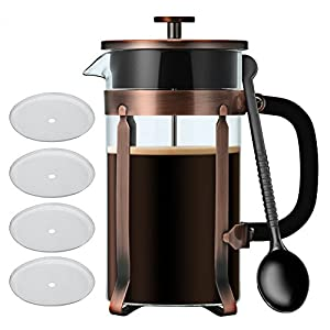 Blufied Cafetière, Travel Home Office French Press Coffee Maker, Stainless Steel Coffee Pot with 4 Piece Replacement Filter Screen, 1 L/ 34 oz / 8 Cup