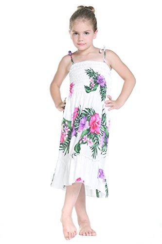 Nia-Elstico-Ruffle-Hawaiian-Luau-vestido-en-Blanco-Floral-6-mes