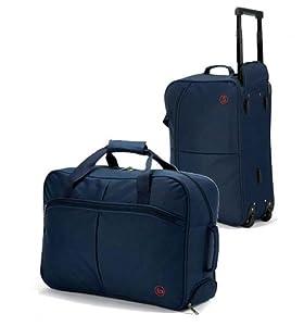 "Small 20"" Wheeled Holdall Cabin Case Flight Bag RYANAIR L51xH36xW20cm Hand Luggage on Wheels (Black)"