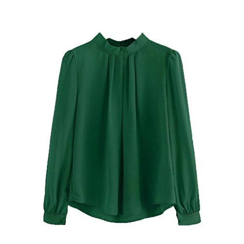 Rcool Damen Sommer Casual Loose Fit Kurzarm Rundhals T-Shirt Shirt Chiffon Top Bluse (Grün, Medium/36EU) (Wolle Slim Gestreifte Pant)