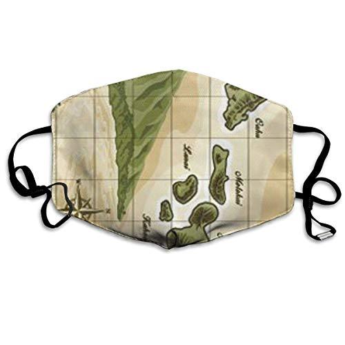 Hawaiian Islands Vintage Style Map Deluxe Velour Non-Toxic Dust & Filter Safety Masks - Herren Deluxe Grooming