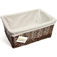 woodluv Medium Wicker Storage Basket with White Lining, Dark Brown
