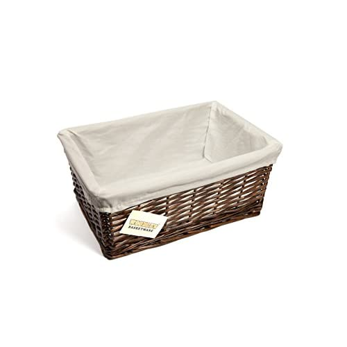 woodluv New Dark Brown Wicker Storage Basket W/Off White Cloth Lining Xmas Hamper-Medium