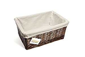 Elitehousewares WoodLuv Corbeille de rangement en osier avec doublure Brun foncé/blanc Taille moyenne