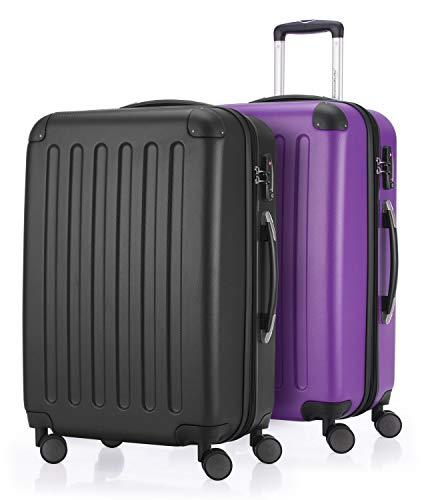 HAUPTSTADTKOFFER - Spree - 2er Koffer-Set Hartschale Matt, TSA, 65 cm mit Volumenerweiterung, Schwarz-Aubergine