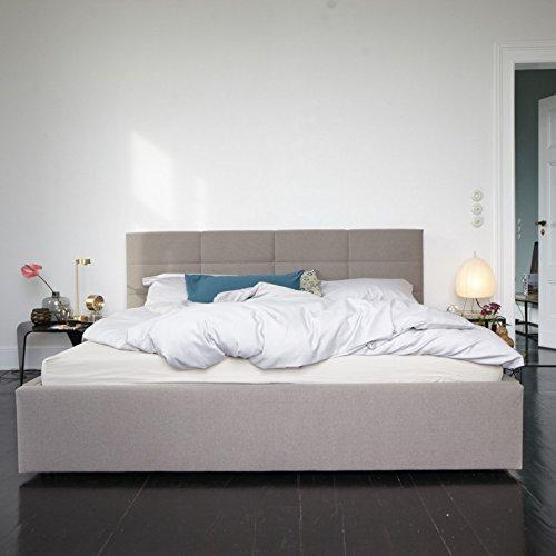 Nola Zwei Polsterbett mit Schattenfuge - 160 x 200 cm - taupe