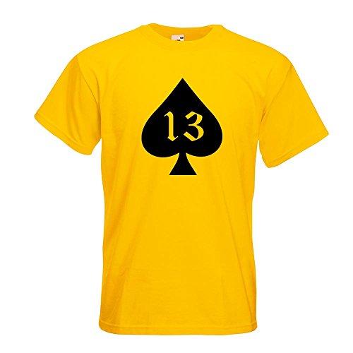 KIWISTAR - Pik Ass 13 Oldschool T-Shirt in 15 verschiedenen Farben - Herren Funshirt bedruckt Design Sprüche Spruch Motive Oberteil Baumwolle Print Größe S M L XL XXL Gelb