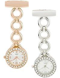 SEWOR reloj para elegancia para mujer diamond colgante reloj de bolsillo Rosegold & Sliver 2pcs con marca de piel caja de regalo