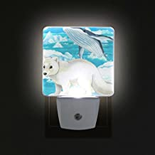 COOSUN Polar Fox and Whale Plug in LED Night Light Auto Sensor Smart Dusk to Dawn Decorative Night for Bedroom, Bathroom, Kitchen, Hallway, Stairs,Hallway,Baby's Room, Energy Saving (UK Plug)