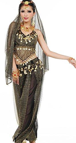Damen Bauchtanz Kostüme Set Indischer Tanz Darbietungen Kleidung Schwarz
