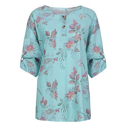 2edcec147 Lazzboy Women Tops T-Shirt Long Sleeve Ethnic Flower Print Half-Button  Ladies Blouse