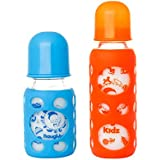 Naughty Kidz Premium Warmer Glass Bottle With Ultrasoft LSR Nipple||Silicone Bottle Warmer||Key TEETHER||Hood Retaining Cap And Sealing DISC RING-120ML+240ML (Blue+Orange)