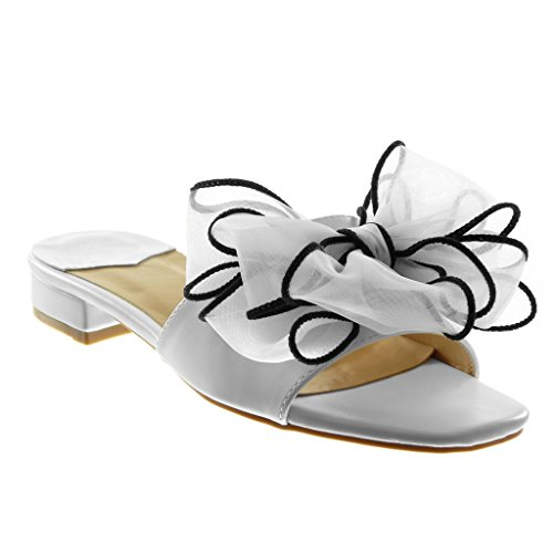 Angkorly Chaussure Mode Sandale Mule Slip-On Femme Noeud Tulle Talon Haut Bloc 4 CM Blanc