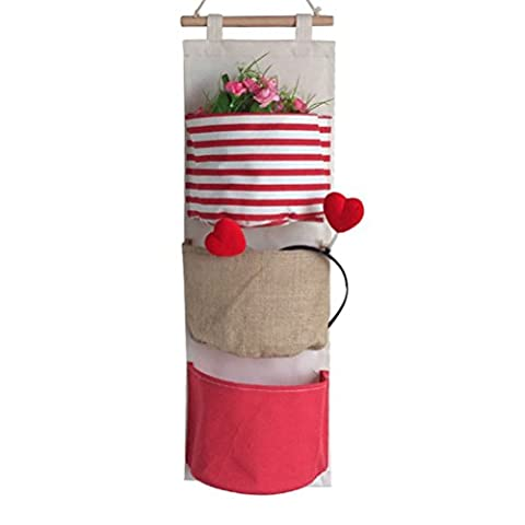 Fieans Home Cotton Fabric Wall Door Cloth Hanging Storage Bag Case Wall Pocket Hanging bag Space Saver-Red Strip Type B