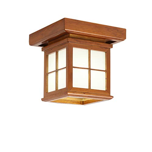 ZR E27 Lámpara de Techo de Madera Maciza marrón, Moderno Estilo japonés,...