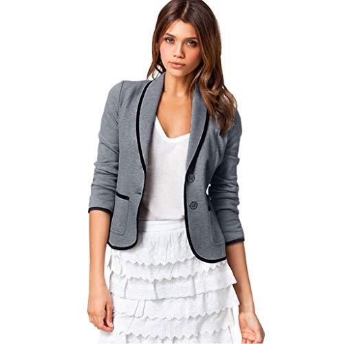 VECDY Damen Jacken,Räumungsverkauf- FrauBusiness Mantel Blazer Anzug Langarmshirts Slim Jacket Outwear Größe S-6XL Lässige warme Jacke (S, T-Dunkelgrau)