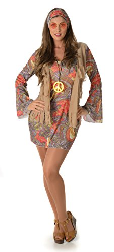 Groovy Hippie Lady Fancy Dress Outfiy in two sizes from 10 to 16