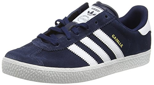 adidas Gazelle 2, Baskets Basses Mixte Enfant Bleu (Collegiate Navy/Ftwr White/Ftwr White)
