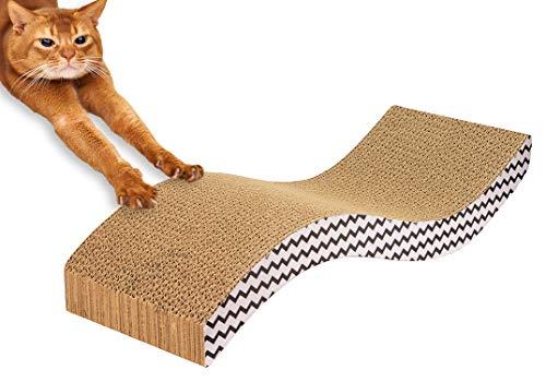 BigDean Katzenkratzkarton gebogen Katzenkratzbrett mit Katzenminze Katzenkarton Katzenliege