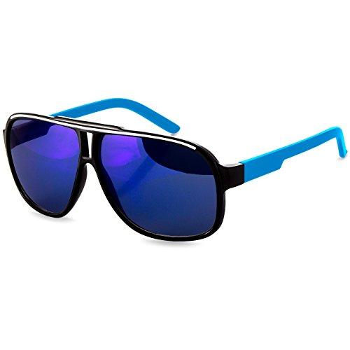 CASPAR SG023 Lunettes de soleil AVIATEUR - UNISEXE - plusieurs coloris - verres miroir ou dégradés, Couleur:bleu / miroir bleu