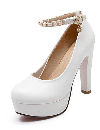 WSS 2016 Chaussures Femme-Bureau & Travail / Décontracté-Bleu / Rose / Blanc-Gros Talon-Talons / Bout Arrondi-Talons-Polyuréthane white-us5 / eu35 / uk3 / cn34